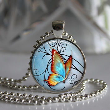 Stained Glass Pastel Butterfly  Round Glass Pendant Necklace