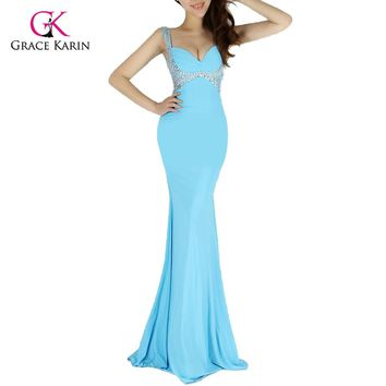 Fashion Long Mermaid Prom Dress 2018 Grace Karin Women Backless Bodycon Formal Evening Gowns Bandage Party Club Dresses 6096