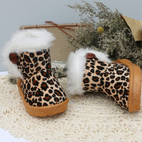Girls Leopard Faux Fur Boots