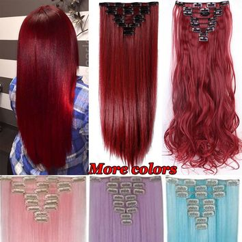 1Set 8Pcs 18Clips Clip In Hair Extensions Long Straight Maroon Mix Dark Red Hairpiece