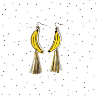 Banana Earrings, Yellow Earrings, Gold Tassel Earrings, Fruit Earrings, Pop Art Jewelry, Banana Jewelry, Hand Painted Statement Earrings