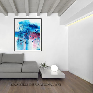 Canvas Art Print, 18 x 21 inches, Abstract Acrylic Painting Music Notes, color blue and red, home decor, wall art, wall hanging, music art