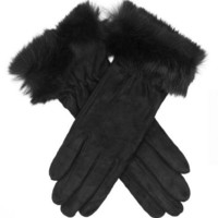 Winter Italian Merino Wool Lined Suede Gloves with Rabbit Fur Cuff Size 7 Color BLK