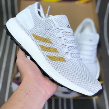 AUGUAU A378 Adidas Purea Boost Element Knit Running Shoes Grey Gold