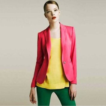 2015 Blazer Women Suit Blazer Foldable Brand Jacket Made Of Cotton & Spandex With Lining Vogue Refresh Blazers Free Shipping