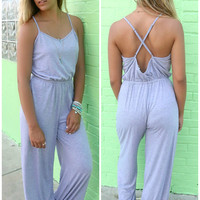 Hippie Holiday Heather Gray Pocket Jumpsuit
