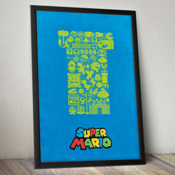 Super Mario Inspired Video Game Poster Collage
