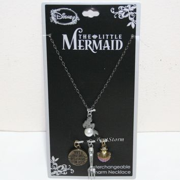 Licensed cool Disney The Little Mermaid ARIEL Interchangeable Multi Charm Pendant Necklace Set