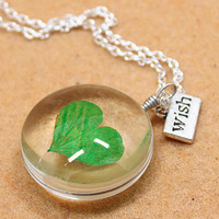 Womens Vintage Style Handmade Heart-shaped Mint Specimen Necklace Gift 158