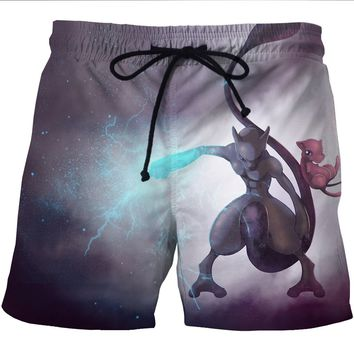 Pokemon Go Mewtwo Mew Print Men Sports Shorts Quick Dry Mesh Short Pants Pokemon Mewtwo Pattern Beach Surf Shorts Mens Trunks
