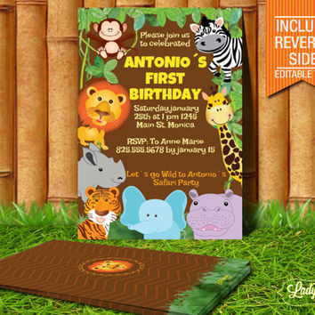 Jungle Birthday Boys or Girls parties or Baby Shower Invitation- PDF-Editable Printable Party-Instant Download