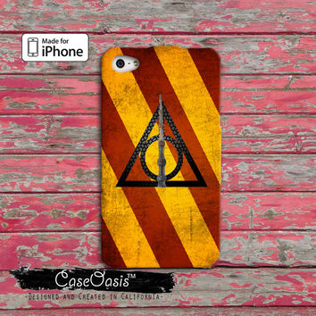 Harry Potter Inspired Deathly Hallows Symbol Gryffindor Colors Custom iPhone 4 and 4s Case and Custom iPhone 5 and 5s and 5c Case