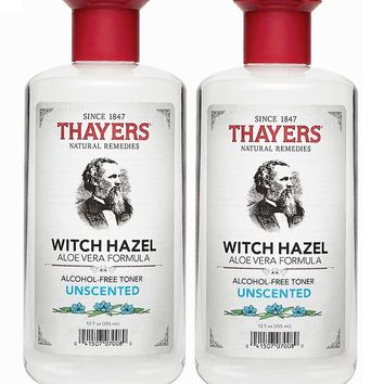 [Pack of 2] Thayers Alcohol-free Unscented Witch Hazel and Aloe Vera Formula Toner 12 fl oz each