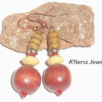 "Earrings Bohemian: Handmade Tri-Hued Wood, And Cherry and Ice Swarovski Crystals ""Safe"" By A'Nena Jewelry"