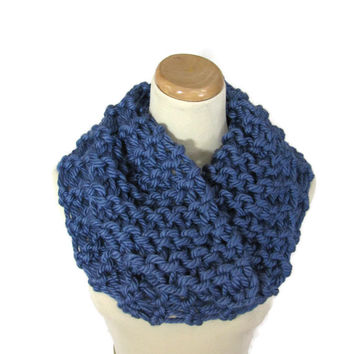 Chunky Cowl, Outlander Inspired Cowl, Knit Scarf, Hand Knit Cowl, Circle Scarf, Blue Scarf, Winter, Infinity Scarf, Chunky Scarf