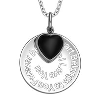 My Heart Belongs to You Forever Inspirational Pendant Simulated Onyx Heart Charm Amulet 18 Inch Necklace