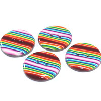 Big rainbow buttons, Polymer Clay buttons in colorful stripes,   set of 4 unique buttons
