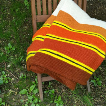 Mid Century Brown Orange Stripe Cotton Knit Blanket Large Sofa Throw Full Size Bed