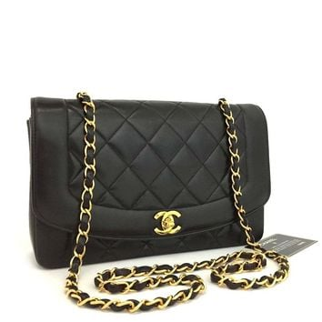 CHANEL Quilted Matelasse Diana 25 CC Logo Lambskin Chain Shoulder Bag /q614