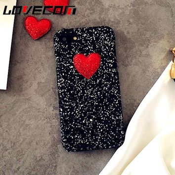 LOVECOM DIY Love Heart Glitter Powder Luxury Sequins Phone Case for Iphone 7 8 Plus X 6 6S Plus 5 5S SE Hard PC Back Cover Coque