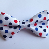 Polka dot Red white and blue Bow Tie,  Patriotic Hair Bow - 4th of July bow Toddler, Child, Adult