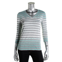 Two by Vince Camuto Womens Striped Dip Dye Pullover Top