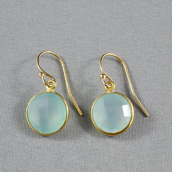 Aqua Chalcedony Earrings, Gold Bezel Gemstone Charms, 14K Gold Filled Ear Wires, Everyday Wear Jewelry