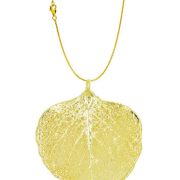 Real Leaf PENDANT with Chain Eucalyptus in 24K Yellow Gold Genuine Leaf Necklace