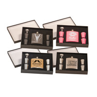 6 oz. Colored Stainless Steel Personalized Flask Set, Bridal Party Gift Boxes