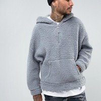 Mennace Oversized Borg Hoodie In Gray at asos.com