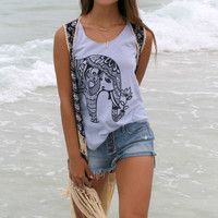 Desert Blooms Navy Mixed Tribal & Floral Print Vest With Crochet Panels & Fringe
