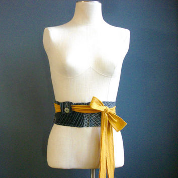 My New Day - iheartfink Handmade Hand Printed Womens OOAK Unique Gray Black Yellow Wearable Art Accessory Jersey Pocket Obi Belt