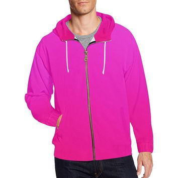 Pink Design 2 Men's All Over Print Full Zip Hoodie