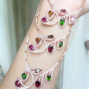 Natural garnet stone Necklace natural diopside crystal  Pendant Necklace S925 silver trendy Multicolored twigs women  Jewelry