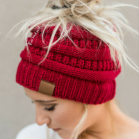 Messy Bun Knitted Beanie Hat - Red