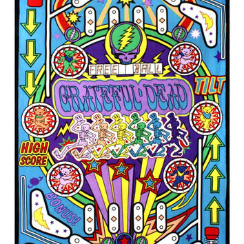 Grateful Dead 3D Pinball Machine Tapestry Tablecloth Wall Art Beach Sheet 3D Glasses Incl