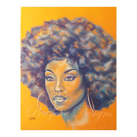 "8"" x 10"" Art Print Orange and Blue African American Woman with Afro ""Rebekah"" Chalk Pastel Drawing by Sabrina Tillman McGowens"