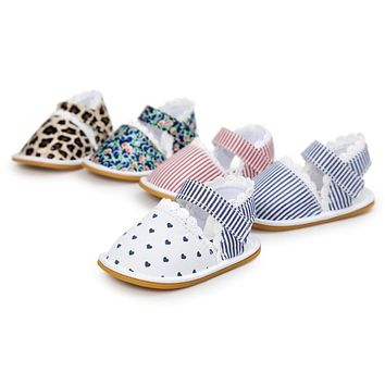 Stripe Bowtie Cute Baby moccasins child Summer girls sandals Sneakers First walkers Infant Fabric shoes 0-18 M