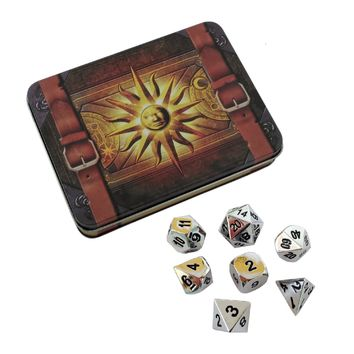 Cleric's Prayer Book with Shiny Chrome / Silver Color with Black Numbering Metal Dice Set