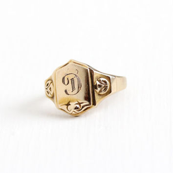 Vintage Art Deco 10k Rosy Yellow Gold Letter D Signet Ring - 1920s Art Deco Size 3 3/4 Script Initial D House of Kraus H OF K  Fine Jewelry