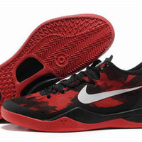 nike basketball shoes kobe bryant viii 8 red and white black mens laker