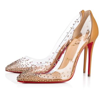 "Christian Louboutin Cl Degrastrass Pvc ""nats"" Nats Nude 3 Strass 18s Bridal 1181081n017 - Best Online Sale"