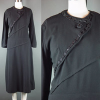 SALE 40s 50s Wool Beaded Dress Vintage Black Detailed Asymetrical Design Closure Party Dinner L XL