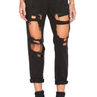 REVERSE Destroyed Boyfriend Jean in Black