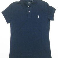 Ralph Lauren Sport Womens Polo Shirt in Navy Blue, White Pony (CLASSIC FIT)