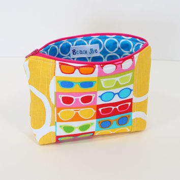 Zippered Makeup Bag Cosmetic Case Accessory Pouch with Yellow Fabric and Bright Multi color Sunglass Fabric