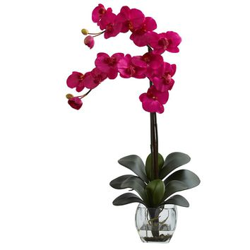 Silk Flowers -Double Blue Phal Orchid With Vase Artificial Plant