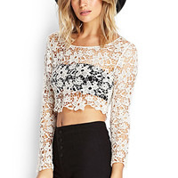 FOREVER 21 Floral Crochet Crop Top Cream