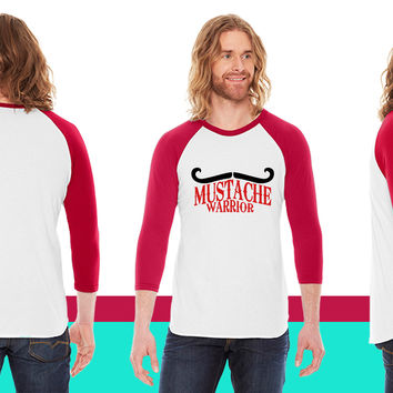 mustache warrior American Apparel Unisex 3/4 Sleeve T-Shirt