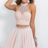 Light Pink Beaded Cheap Cute 8th Grade Short 2 Two Piece Homecoming Dresses